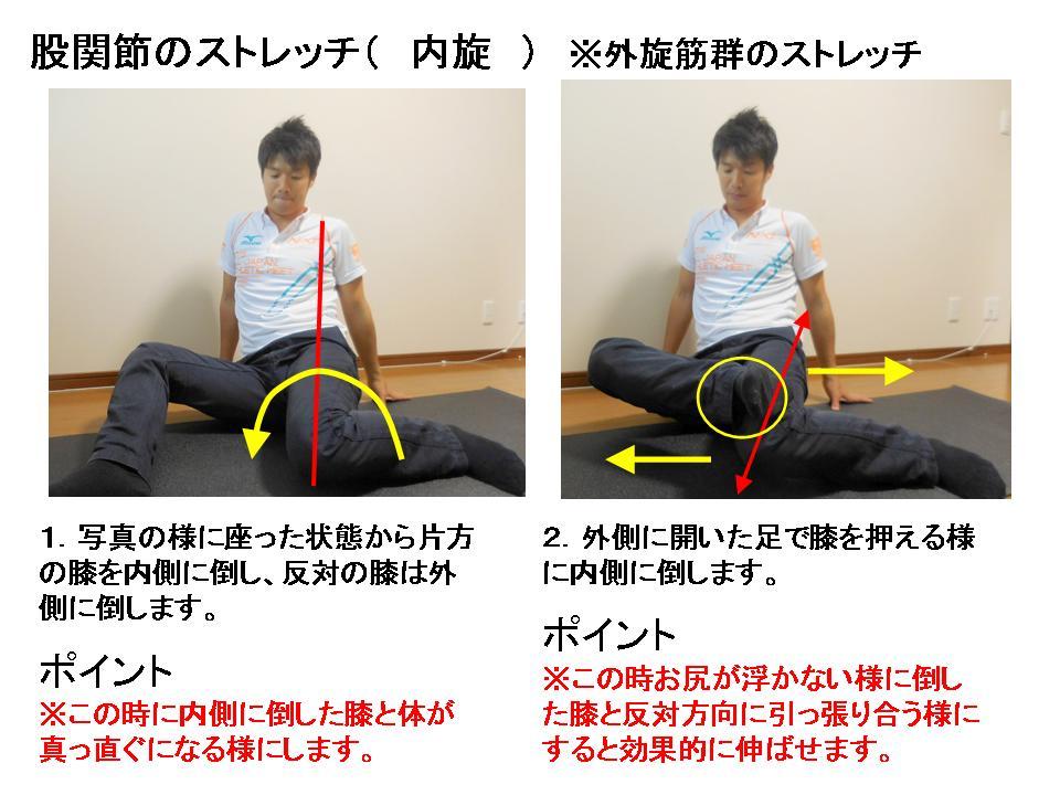 股関節内旋のストレッチ(①)
